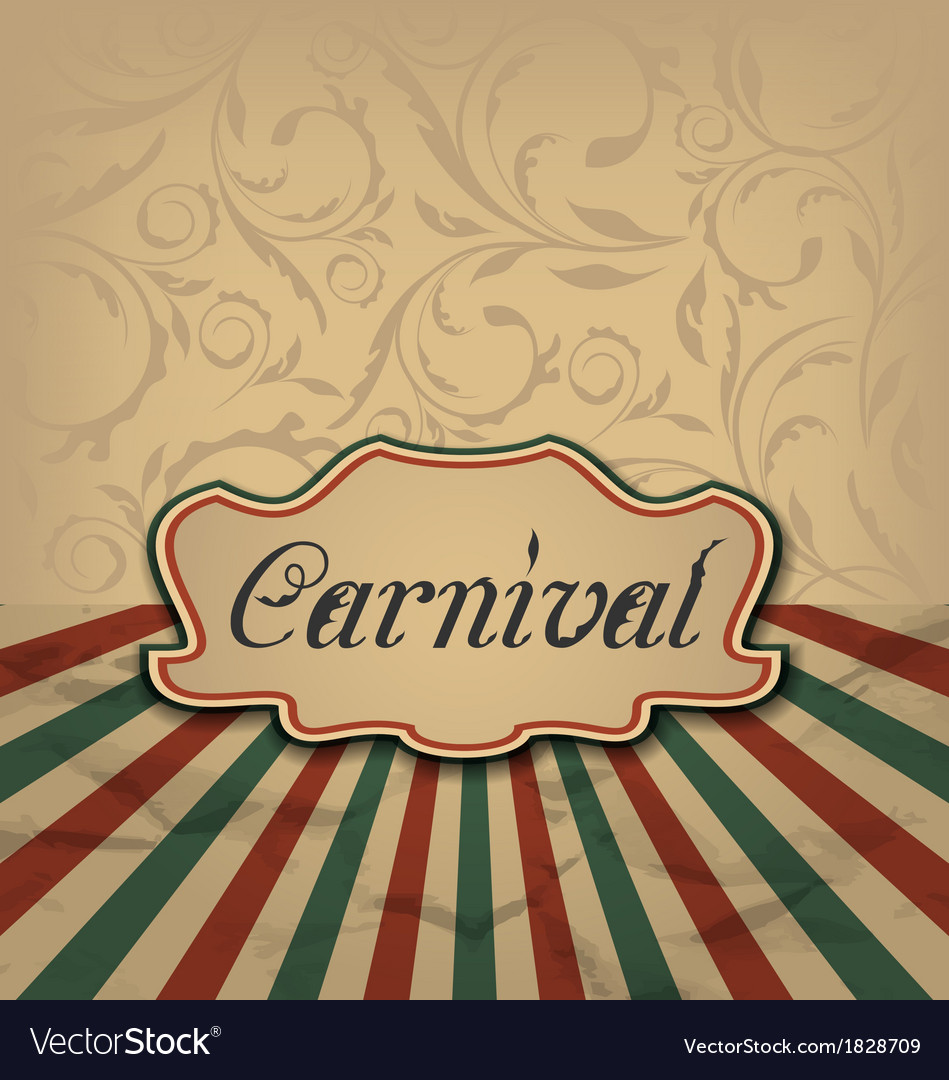 Vintage card with advertising header for carnival vector | Price: 1 Credit (USD $1)