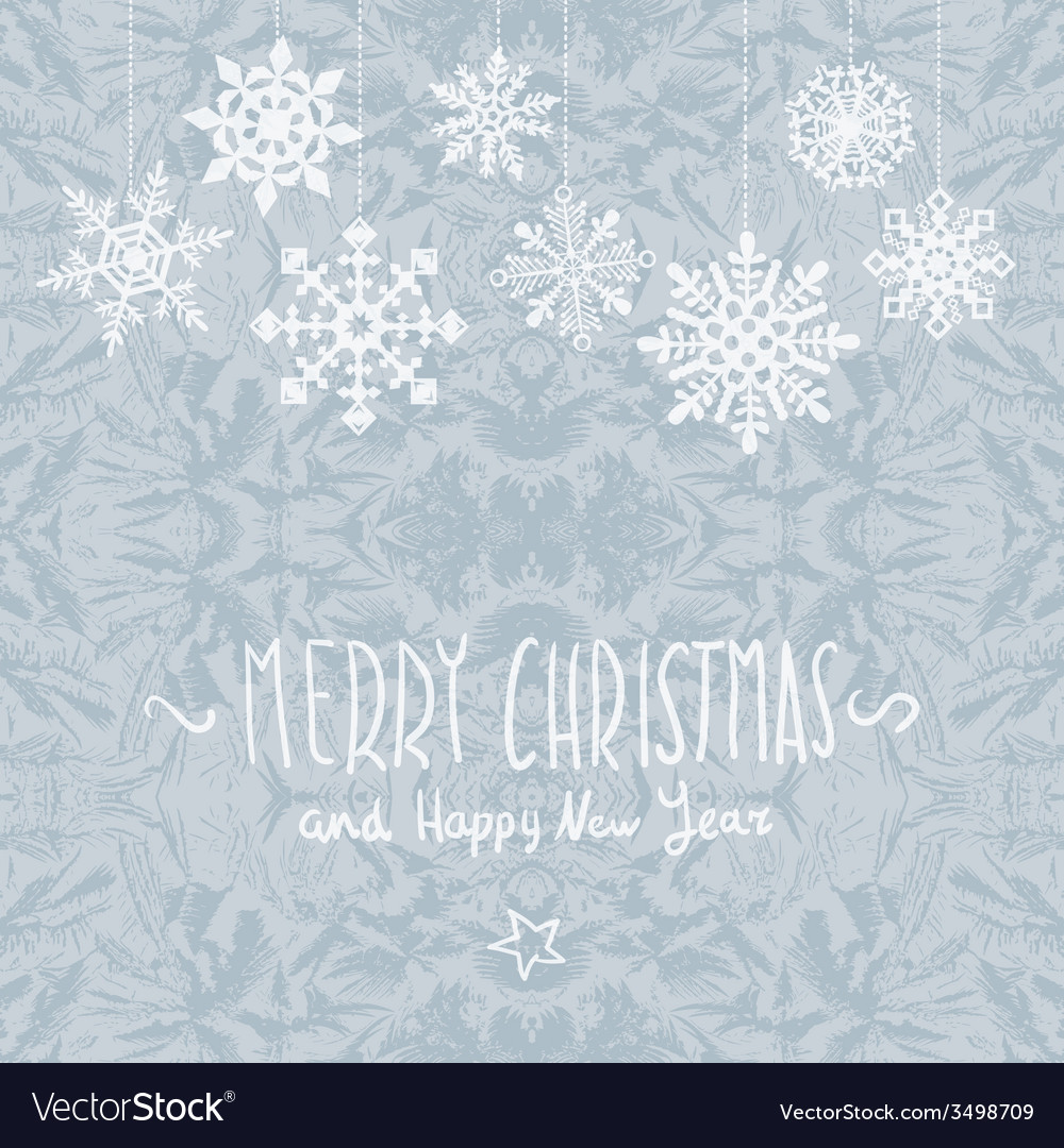 Winter merry christmas card with snowflakes vector | Price: 1 Credit (USD $1)