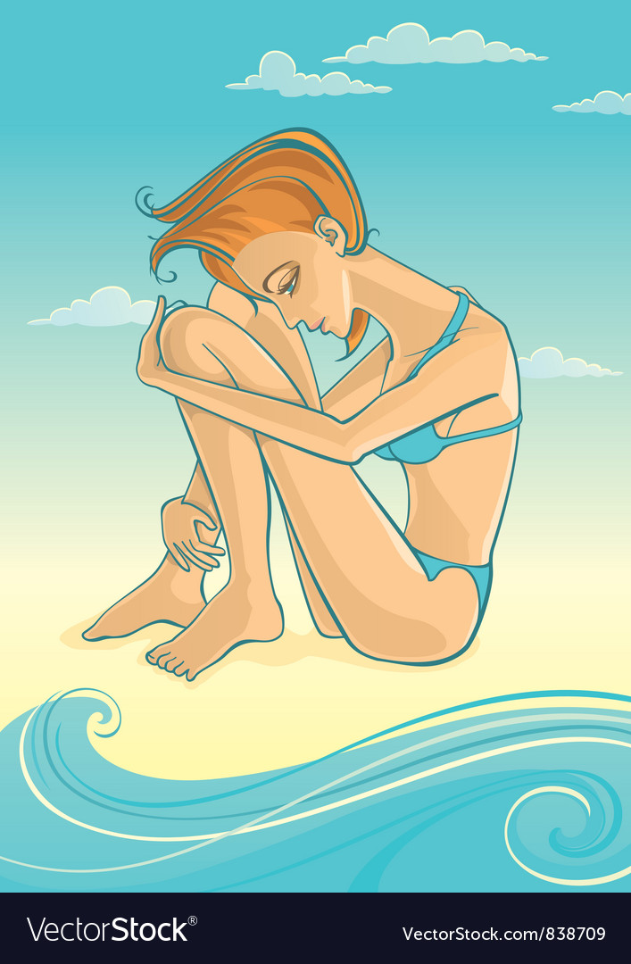 Woman on beach vector | Price: 3 Credit (USD $3)