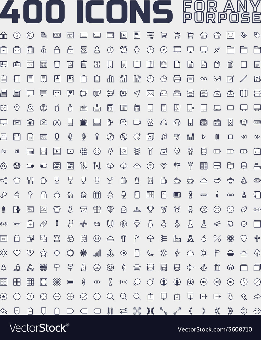 400 universal icons for any purpose vector | Price: 1 Credit (USD $1)