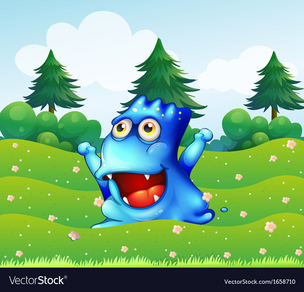 A happy blue monster near the pine trees vector | Price: 3 Credit (USD $3)