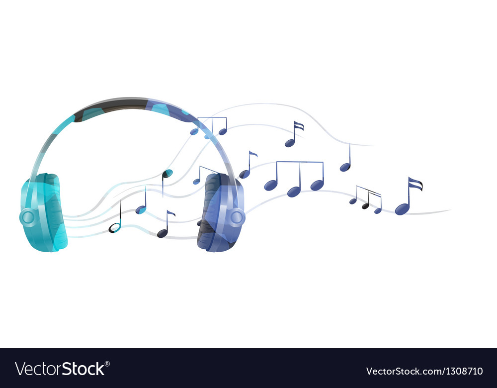 A headphone with musical notes vector | Price: 1 Credit (USD $1)