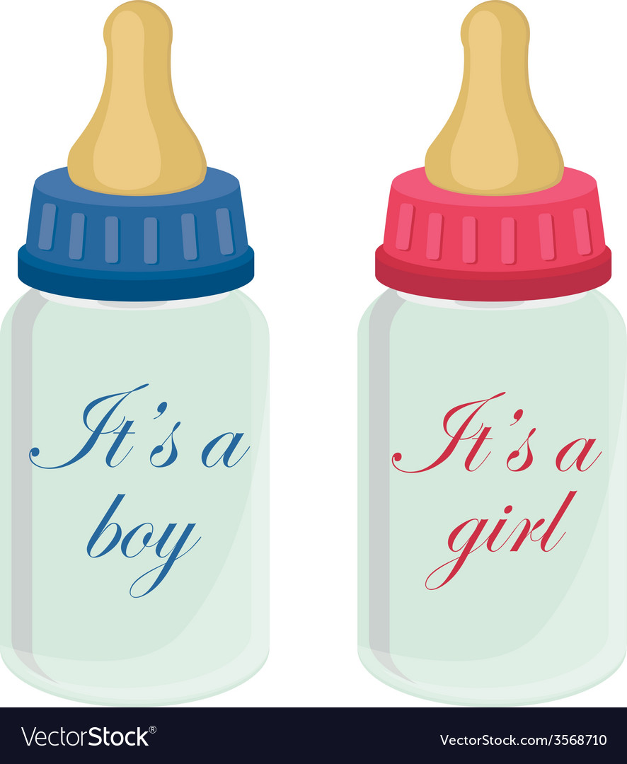 Baby bottles with text vector | Price: 1 Credit (USD $1)