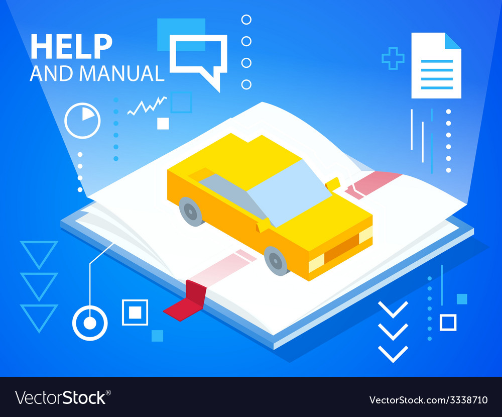 Bright help book and car on blue background vector | Price: 3 Credit (USD $3)