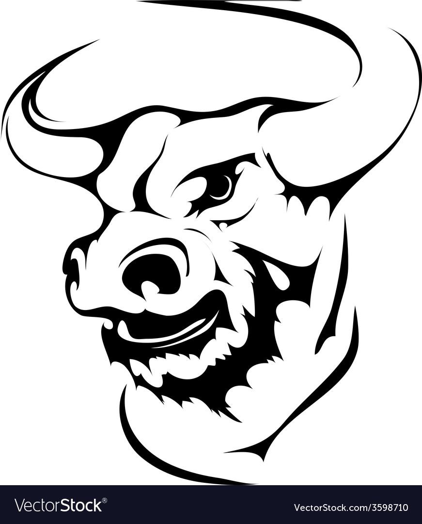 Bull head in black interpretation vector   Price: 1 Credit (USD $1)