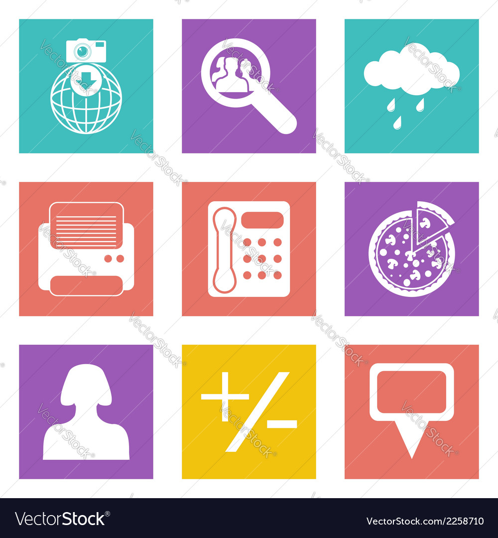 Color icons for web design set 49 vector | Price: 1 Credit (USD $1)