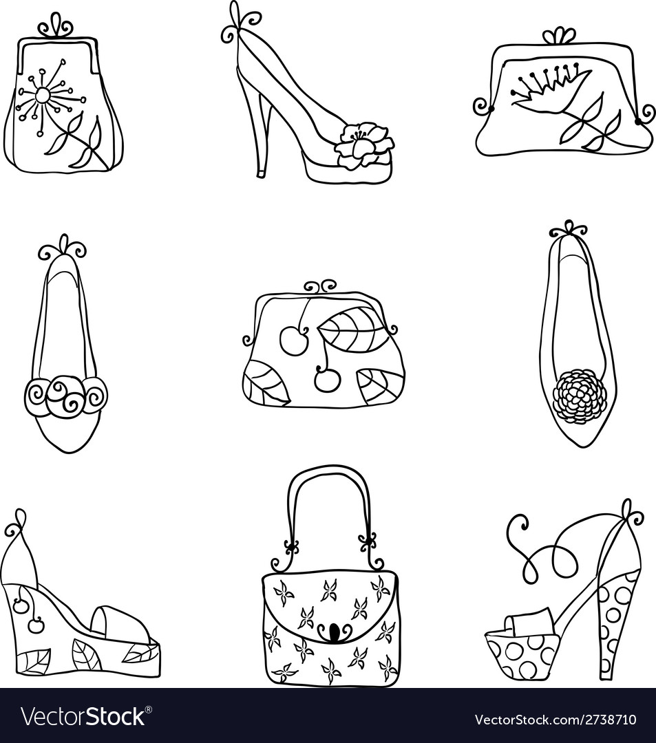 Fashion collection ladies bags and shoes vector | Price: 1 Credit (USD $1)