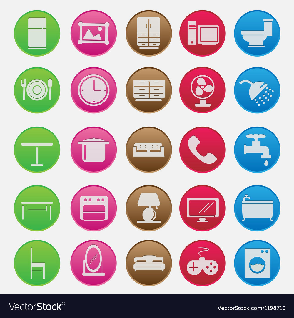 Furniture icon set gradient style vector | Price: 1 Credit (USD $1)