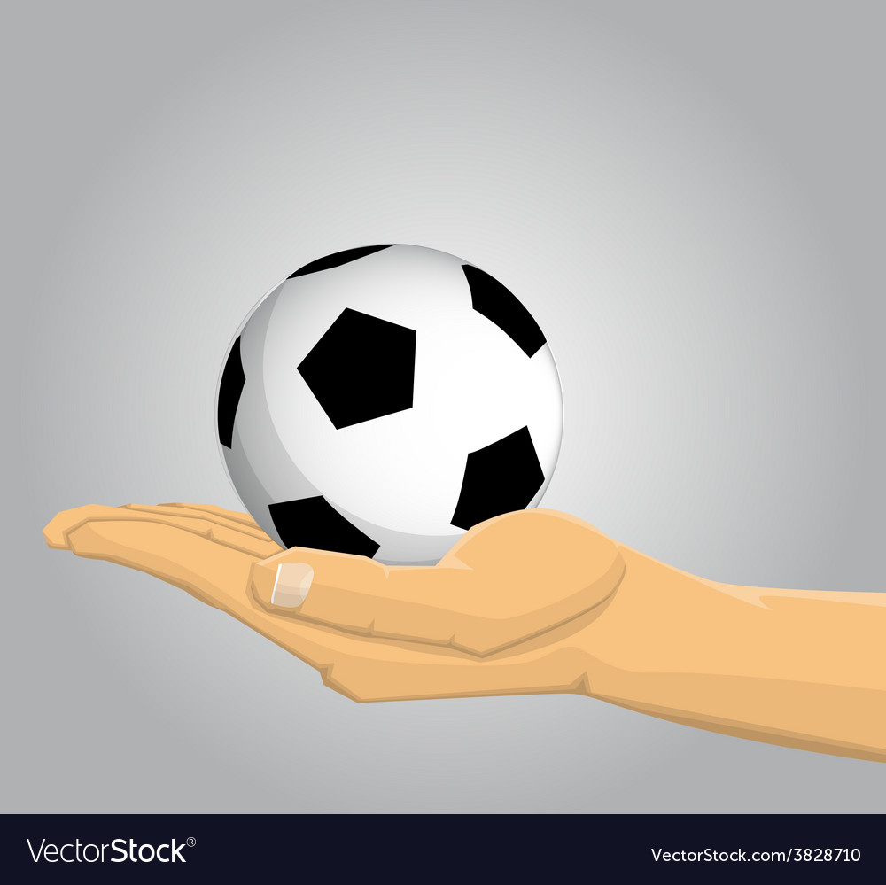 Hand holding a soccer ball vector | Price: 1 Credit (USD $1)