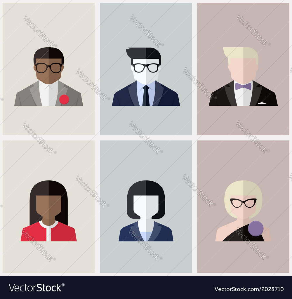 Modern flat avatars male and female user icons vector | Price: 1 Credit (USD $1)