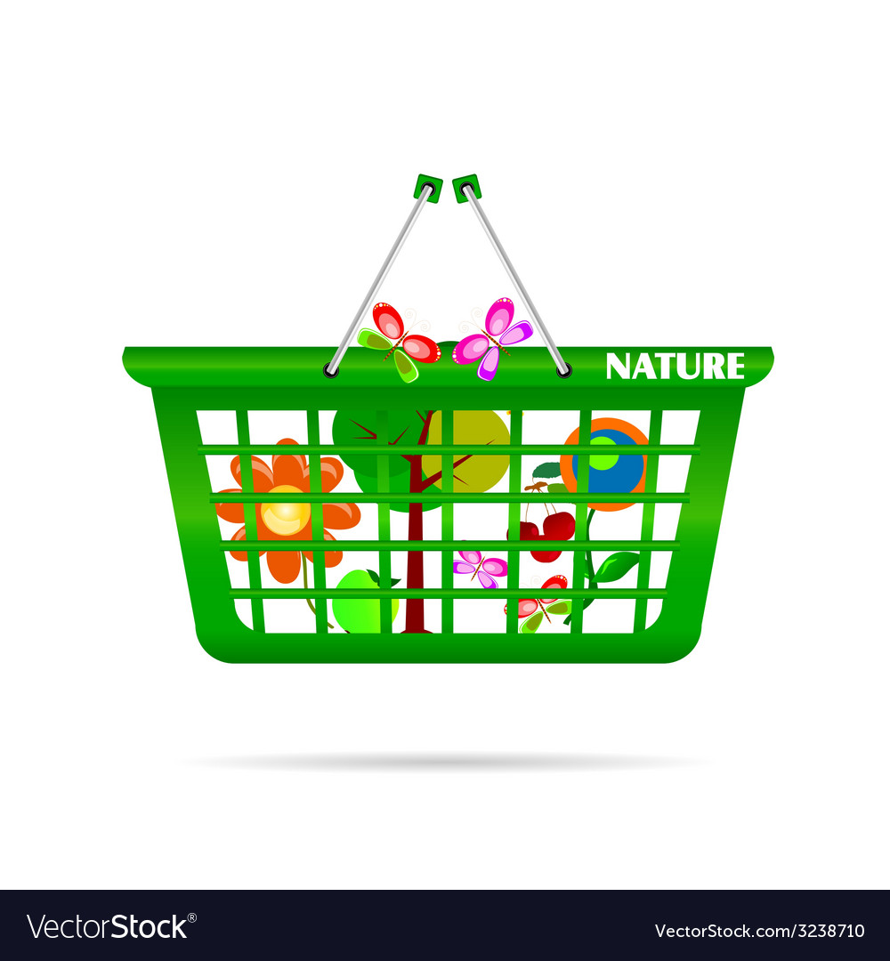 Nature basket with butterfly vector | Price: 1 Credit (USD $1)