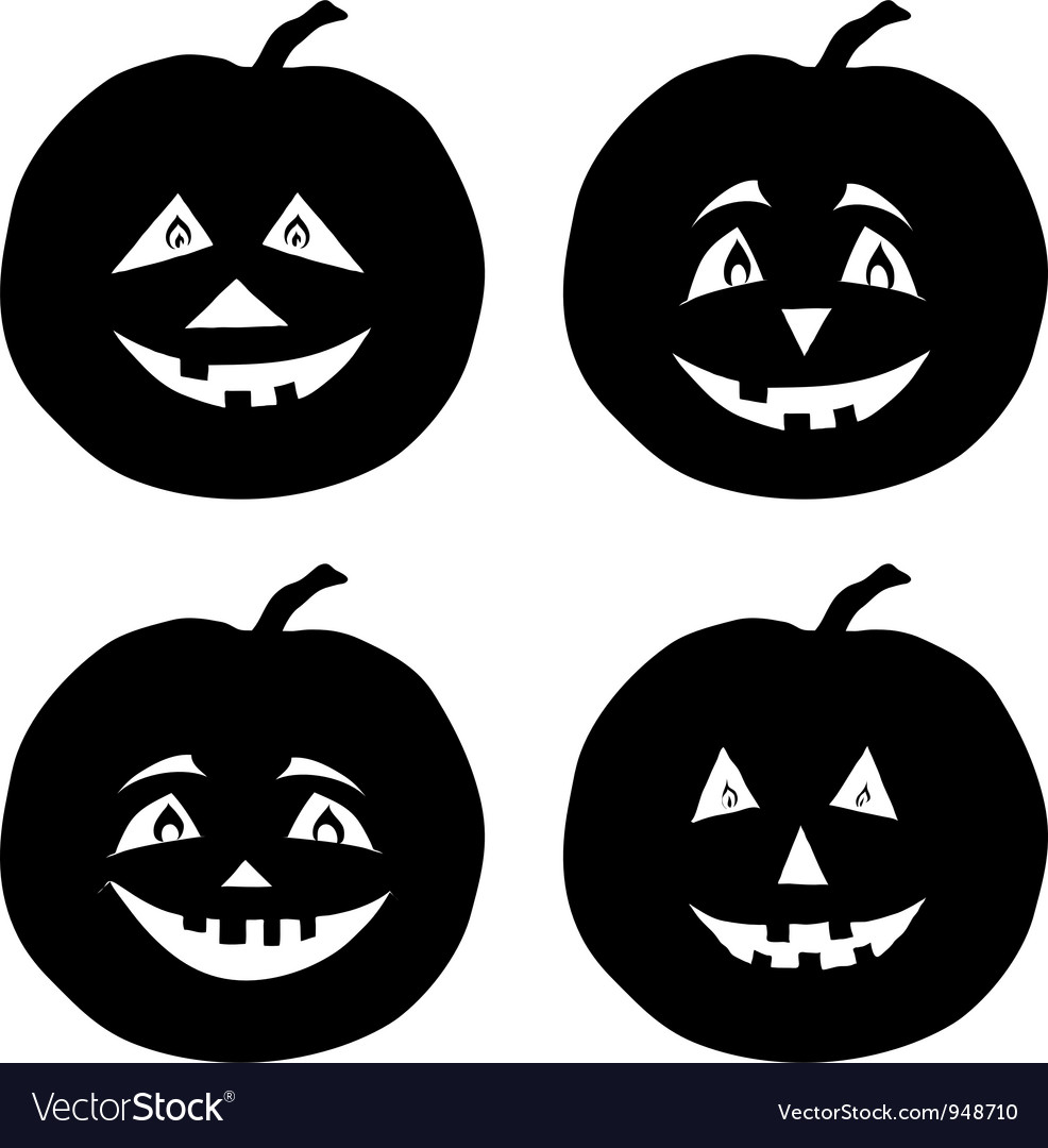 Pumpkins jack o lantern silhouettes vector | Price: 1 Credit (USD $1)