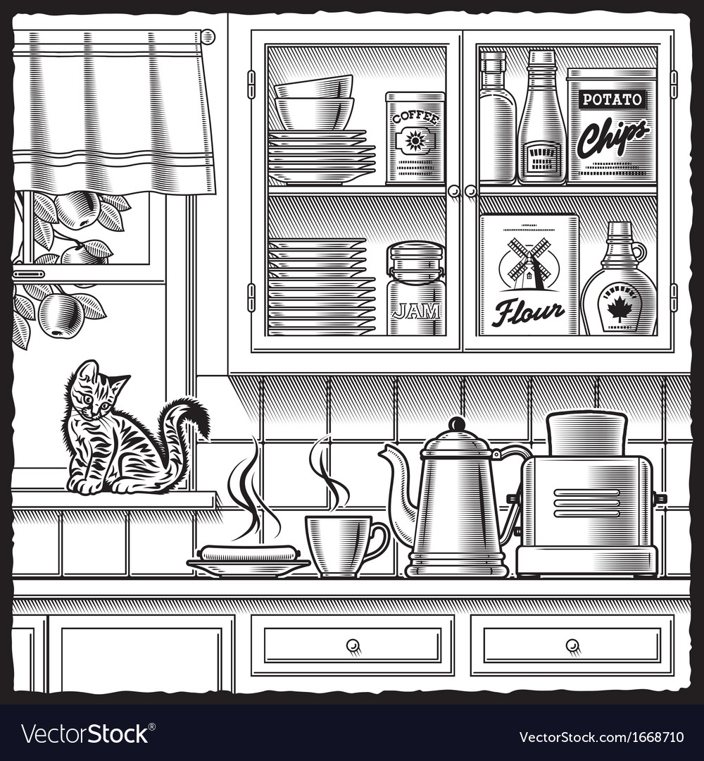 Retro kitchen black and white vector | Price: 1 Credit (USD $1)