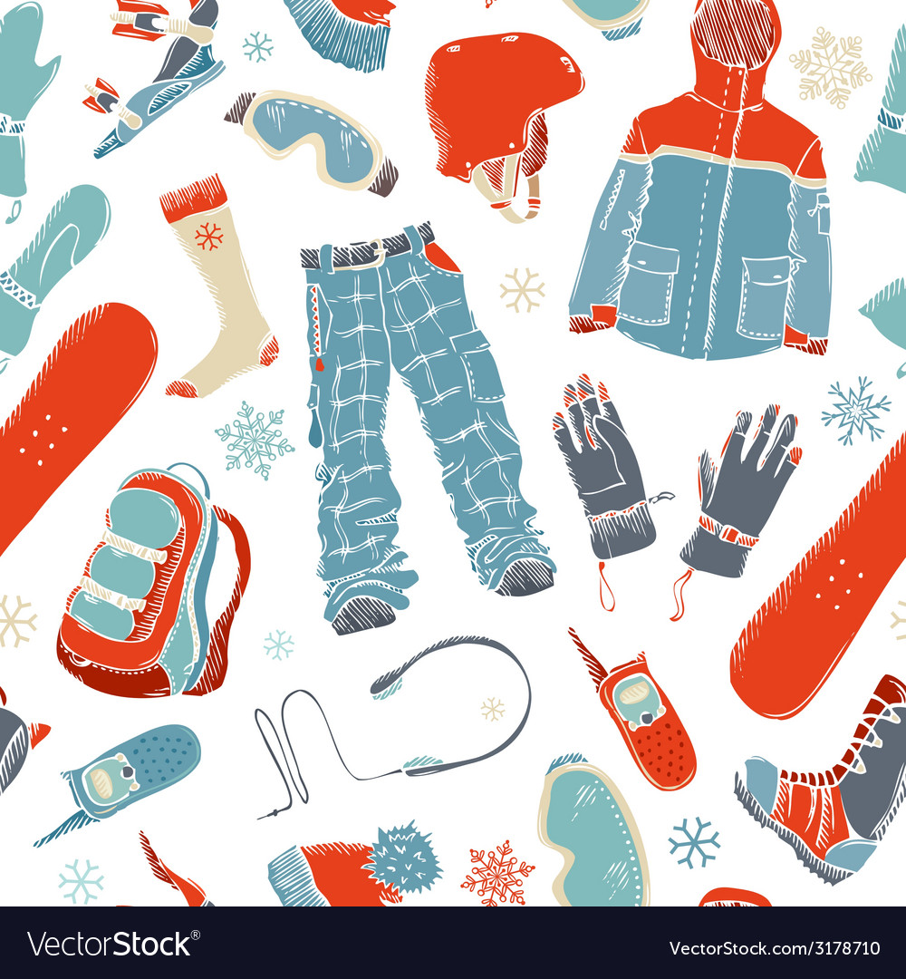 Seamless pattern of snowboard gear vector | Price: 1 Credit (USD $1)