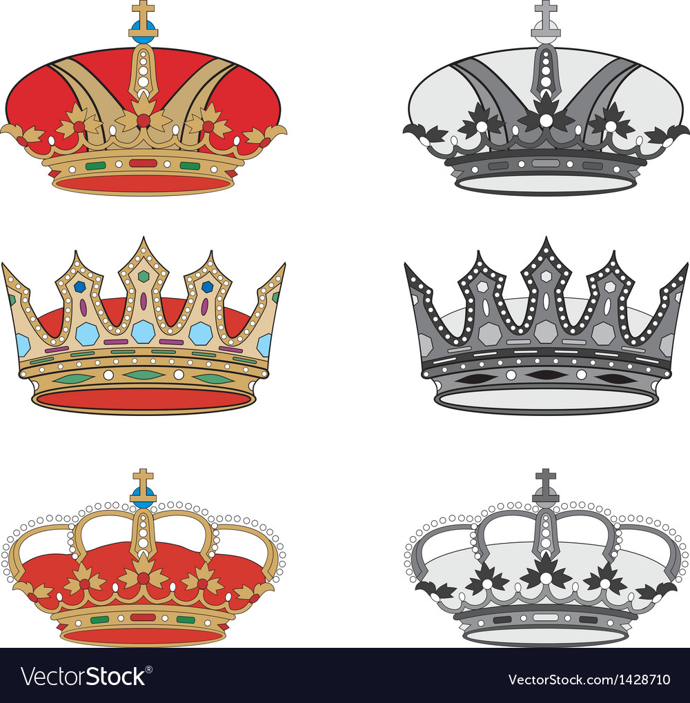 Set of royal crowns vector | Price: 1 Credit (USD $1)
