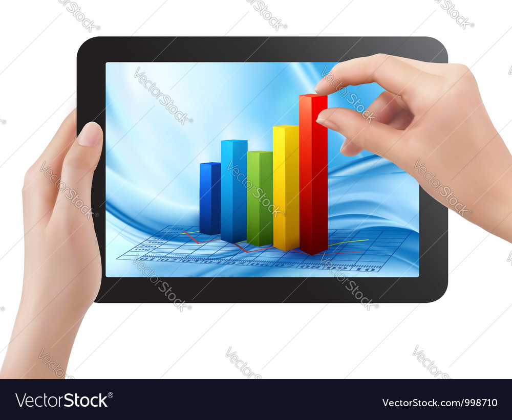 Tablet screen with graph and a hand vector | Price: 1 Credit (USD $1)