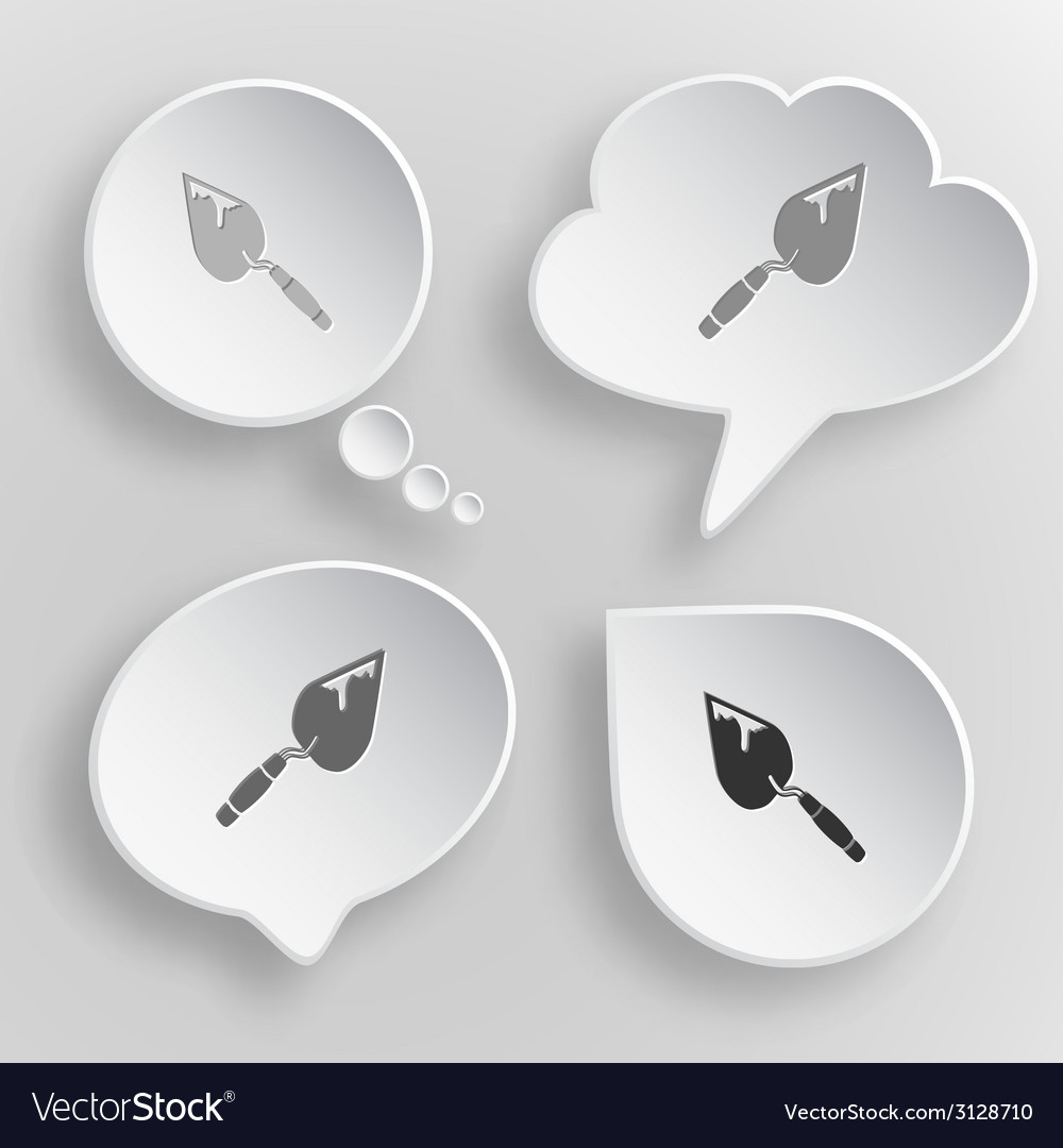 Trowel white flat buttons on gray background vector | Price: 1 Credit (USD $1)