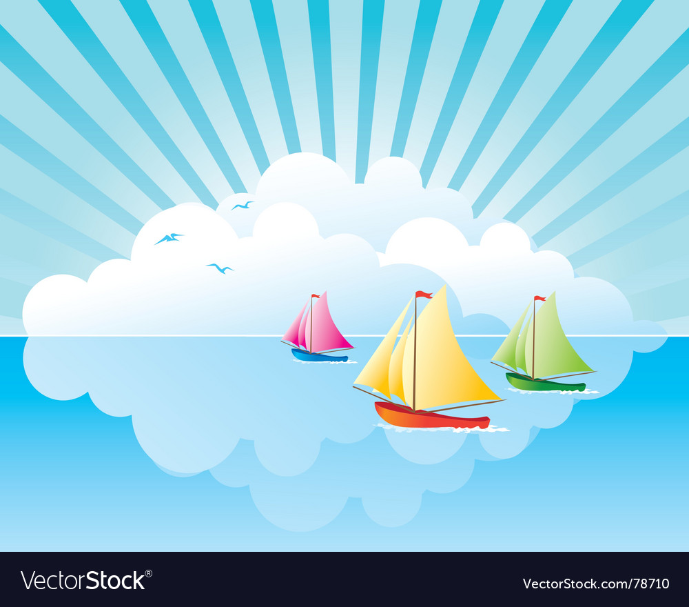Yachts on the water vector | Price: 1 Credit (USD $1)