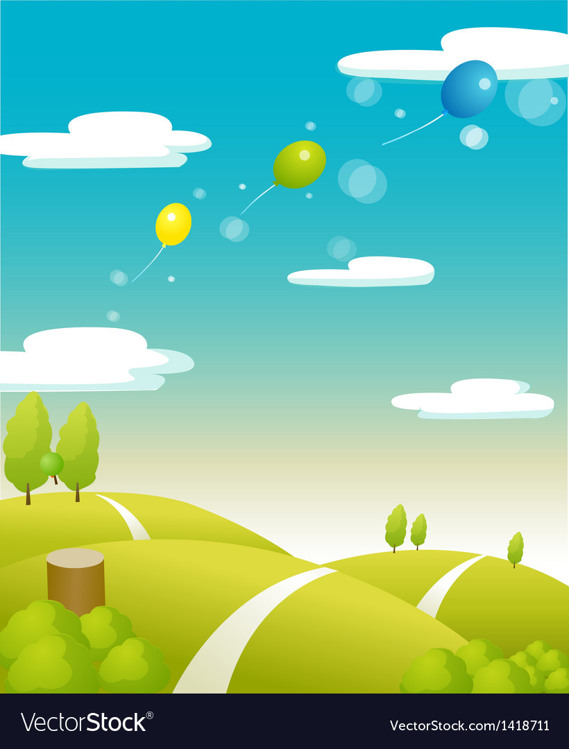 Balloons flying green landscape vector | Price: 1 Credit (USD $1)