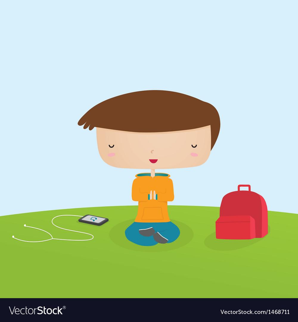 Boy meditating vector | Price: 1 Credit (USD $1)