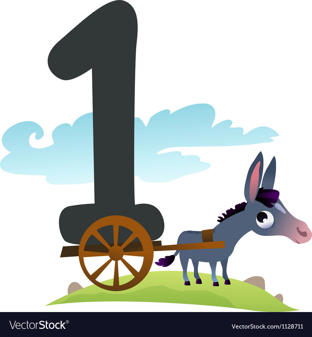 Collection number for kids farm animals - number 1 vector   Price: 1 Credit (USD $1)