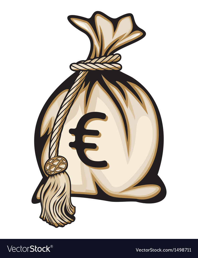 Euro money bag vector | Price: 1 Credit (USD $1)