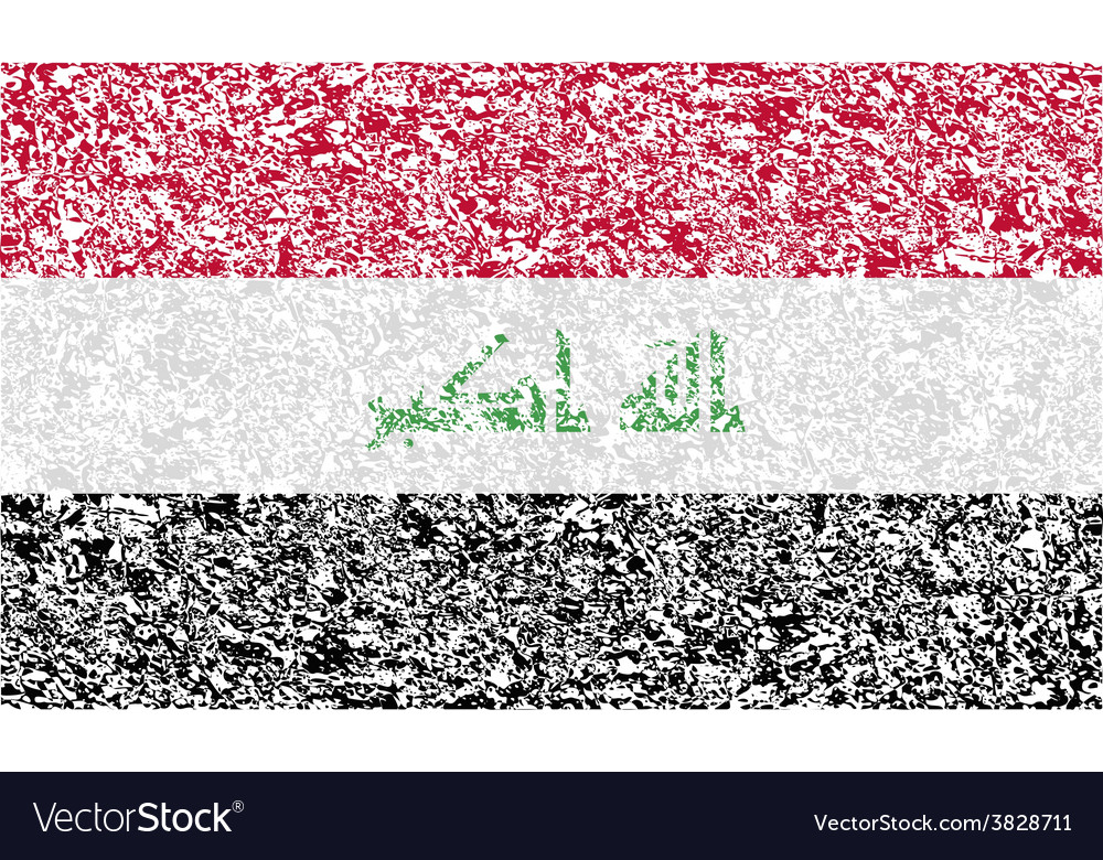 Flag of iraq with old texture vector | Price: 1 Credit (USD $1)