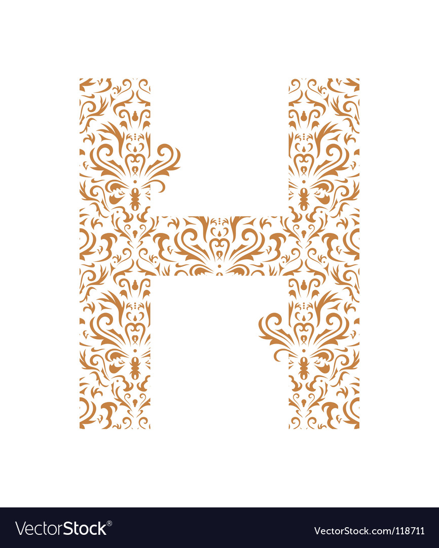 Floral letter h ornament font vector | Price: 1 Credit (USD $1)