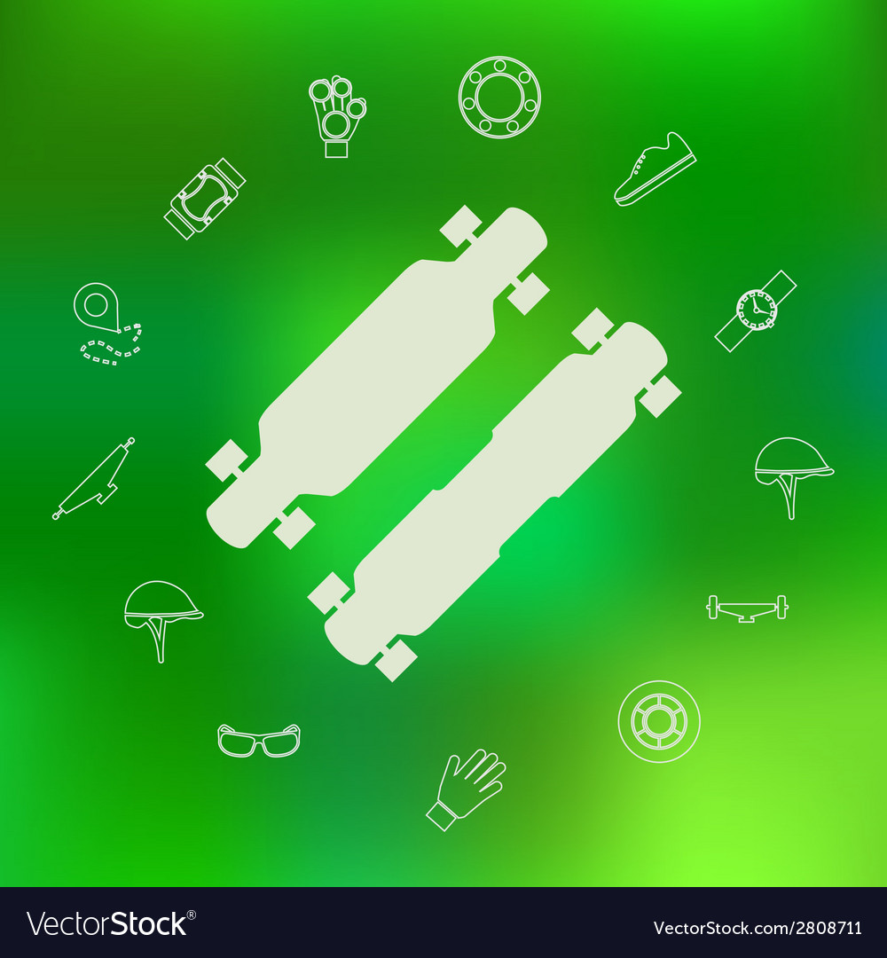 Icons for longboard and accessories vector | Price: 1 Credit (USD $1)