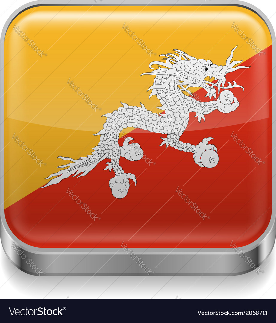 Metal icon of bhutan vector | Price: 1 Credit (USD $1)