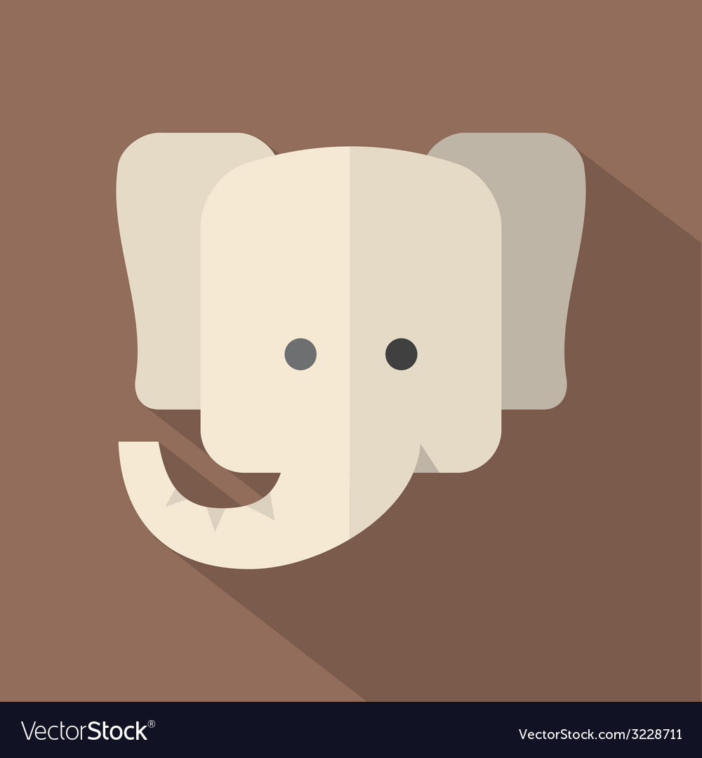 Modern flat design elephant icon vector | Price: 1 Credit (USD $1)