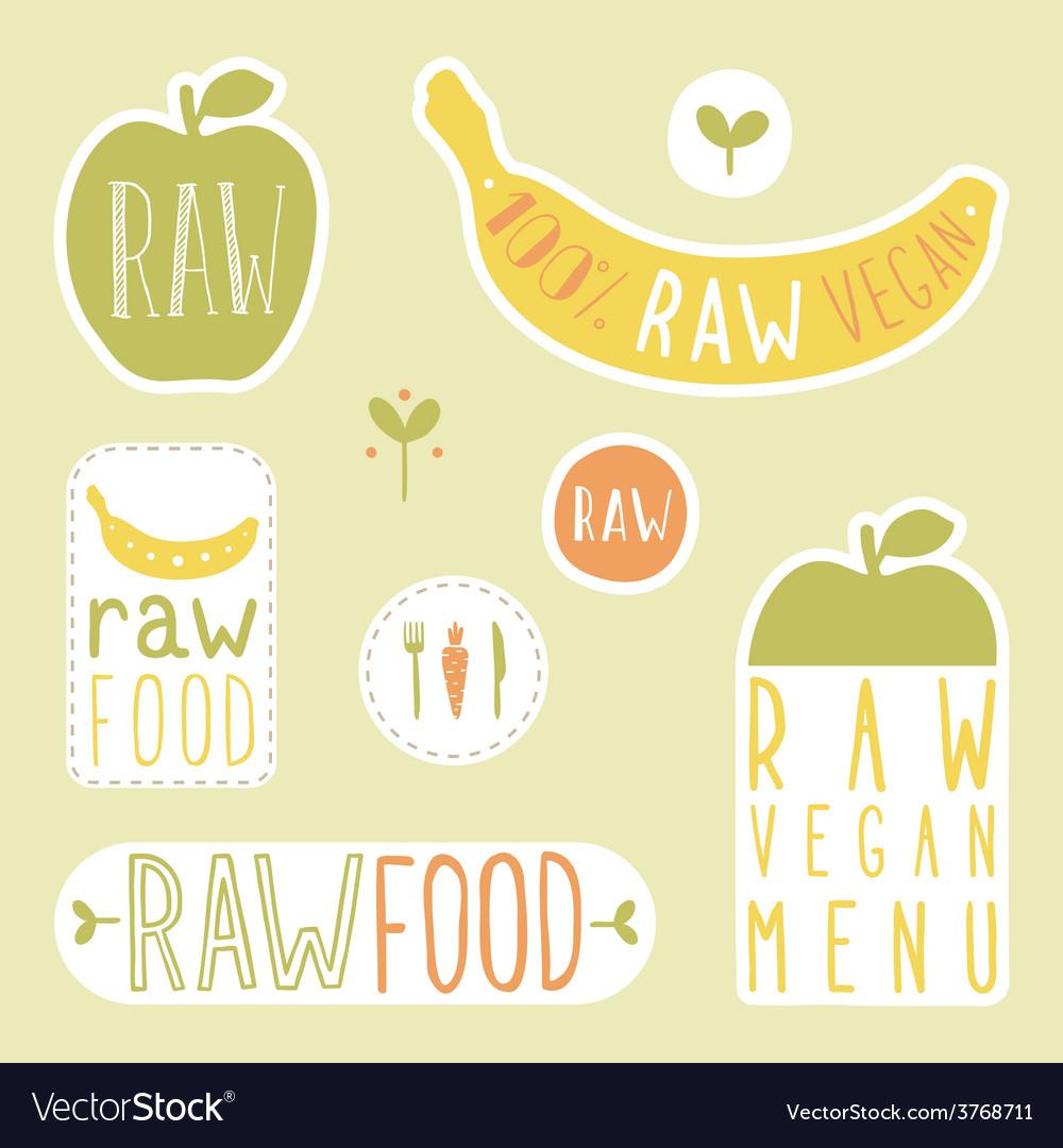 Raw vegan labels vector   Price: 1 Credit (USD $1)