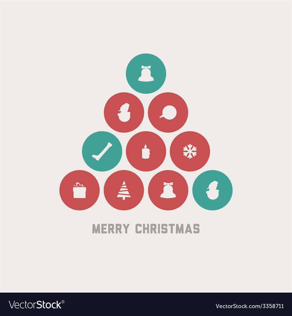 Retro christmas tree vector