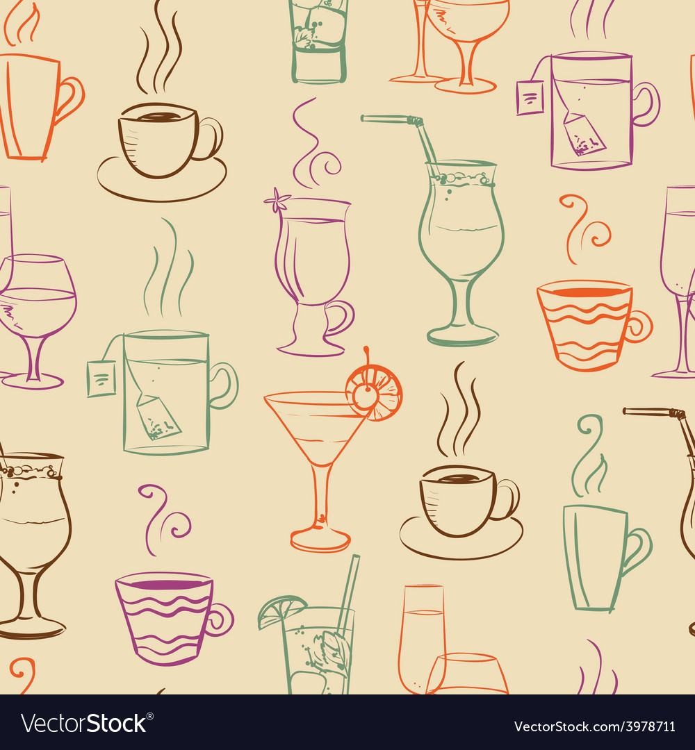 Seamless pattern with drinks vector | Price: 1 Credit (USD $1)