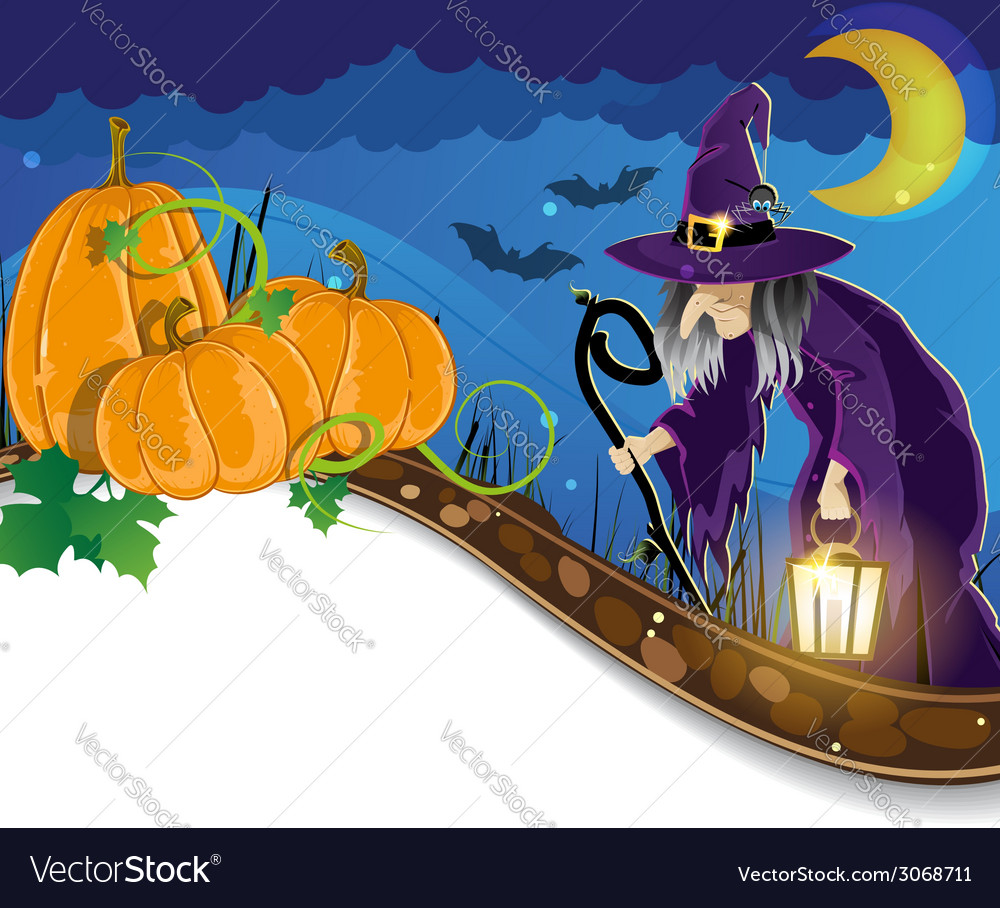 Witch and pumpkins vector   Price: 3 Credit (USD $3)