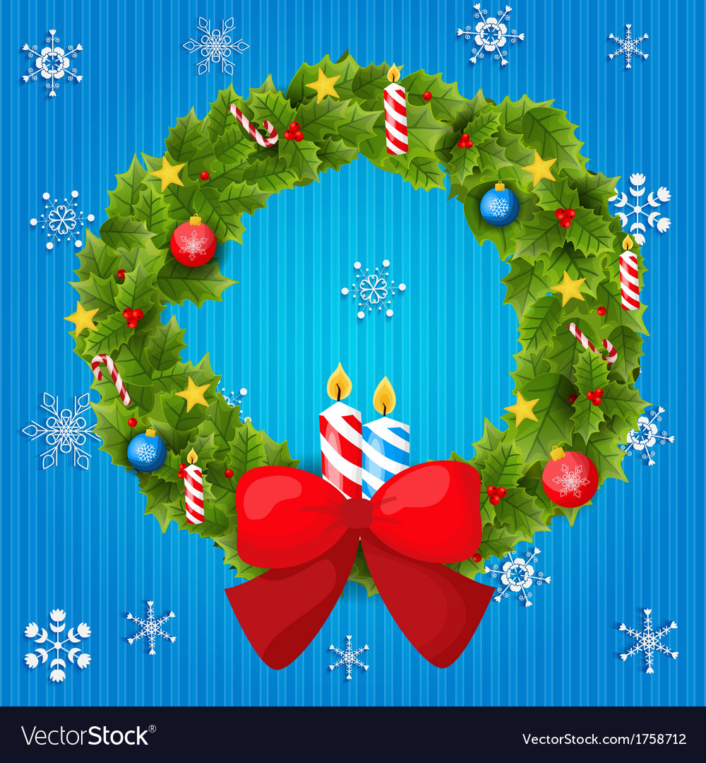 Abstract christmas background with wreath vector   Price: 1 Credit (USD $1)