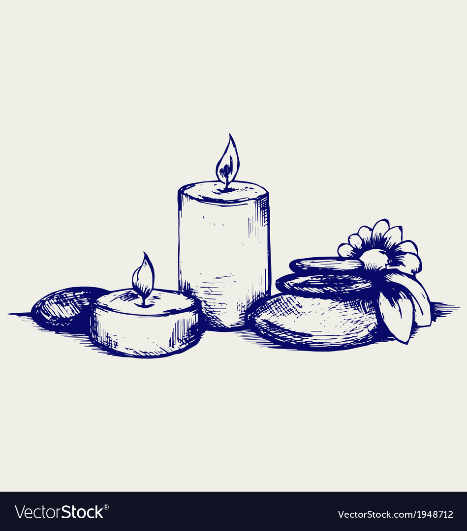 Basalt stones flower and candles vector | Price: 1 Credit (USD $1)