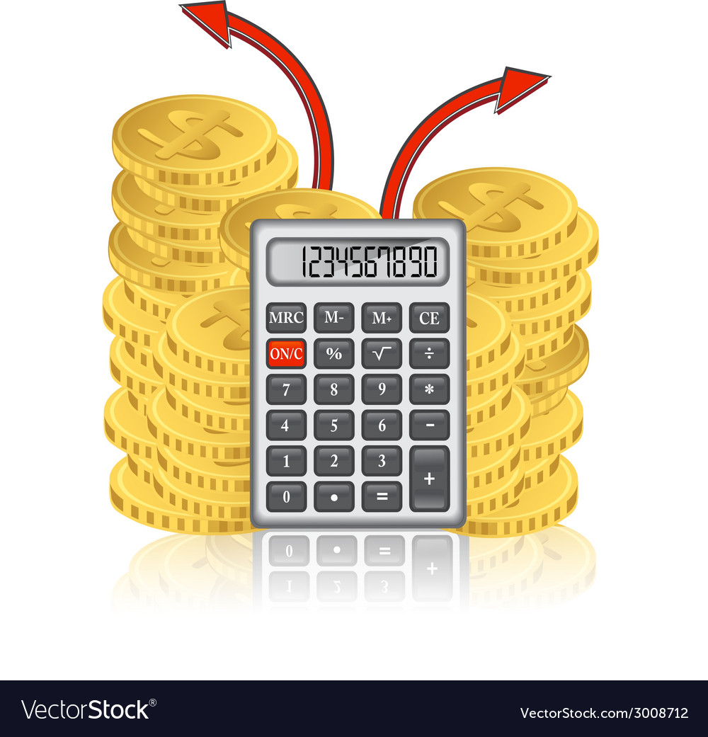 Calculator and a stack of gold coins vector | Price: 1 Credit (USD $1)