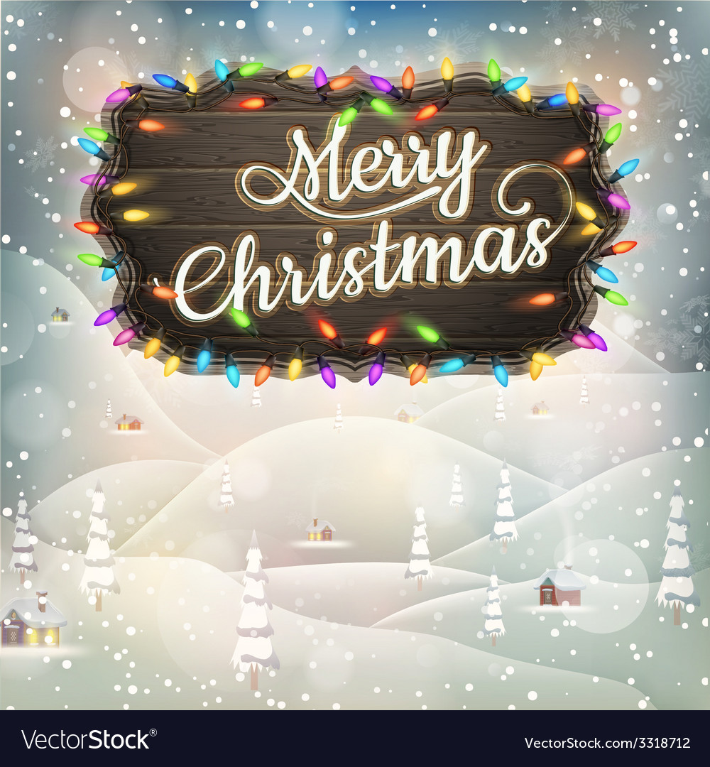 Christmas vintage landscape with signboard eps 10 vector | Price: 3 Credit (USD $3)