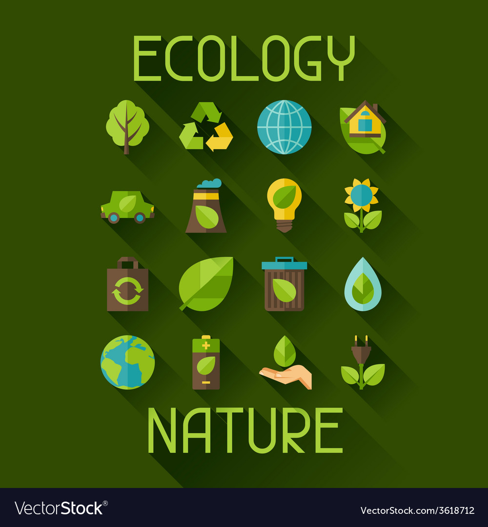 Ecology set of environment and pollution icons vector | Price: 1 Credit (USD $1)