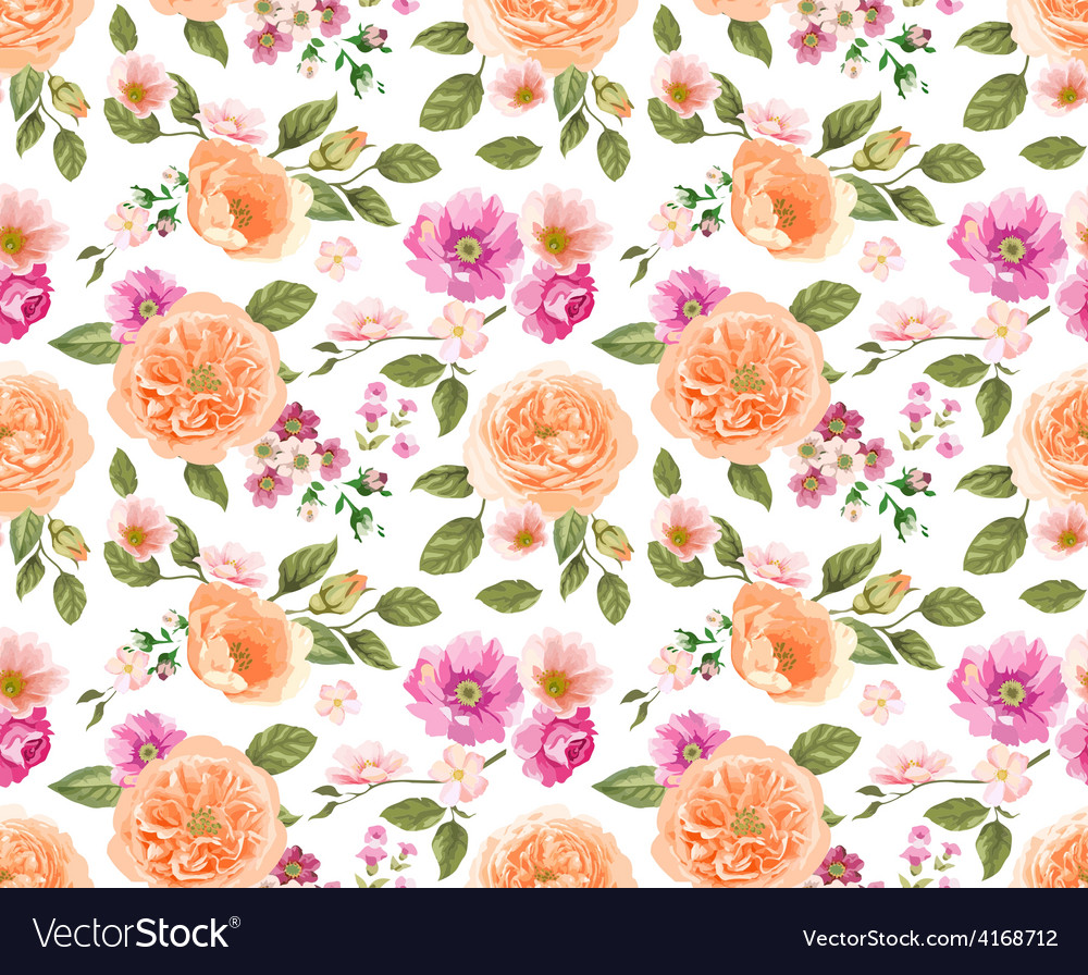 Seamless pattern pink roses vector | Price: 1 Credit (USD $1)