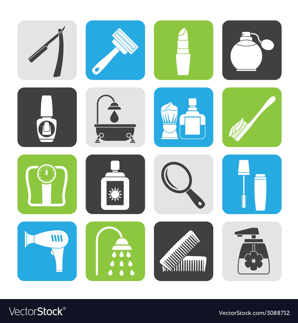 Silhouette body care and cosmetics icons vector | Price: 1 Credit (USD $1)