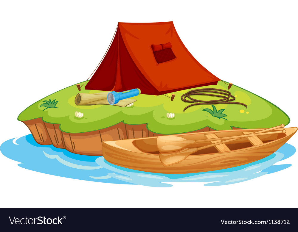 Vaious objects for camping and a canoe vector | Price: 1 Credit (USD $1)