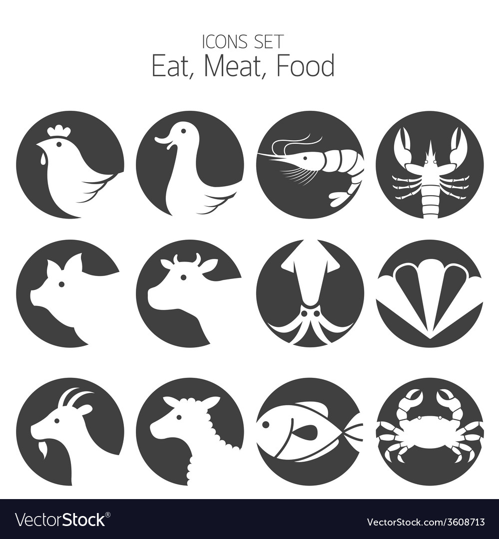 Animal meat seafood and eating icons set vector | Price: 1 Credit (USD $1)