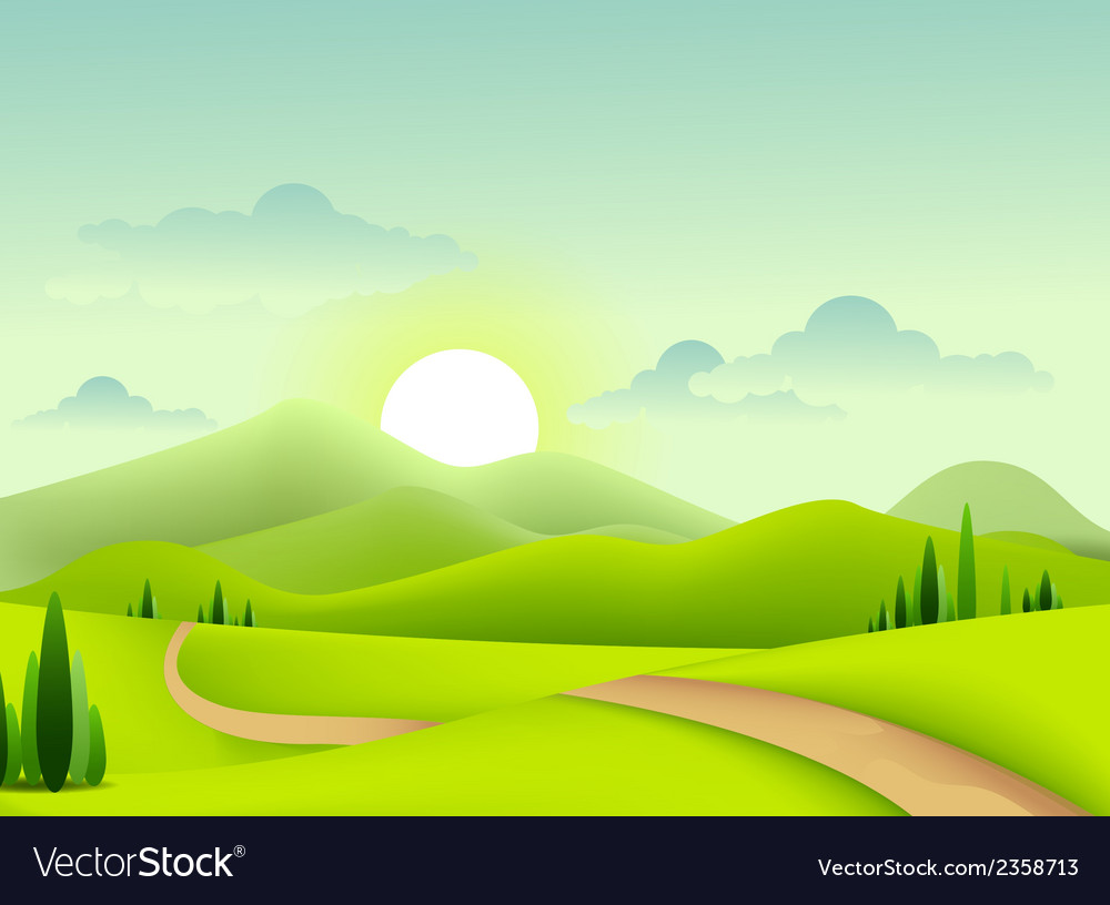 Beauty green landscape of sunny morning vector | Price: 1 Credit (USD $1)