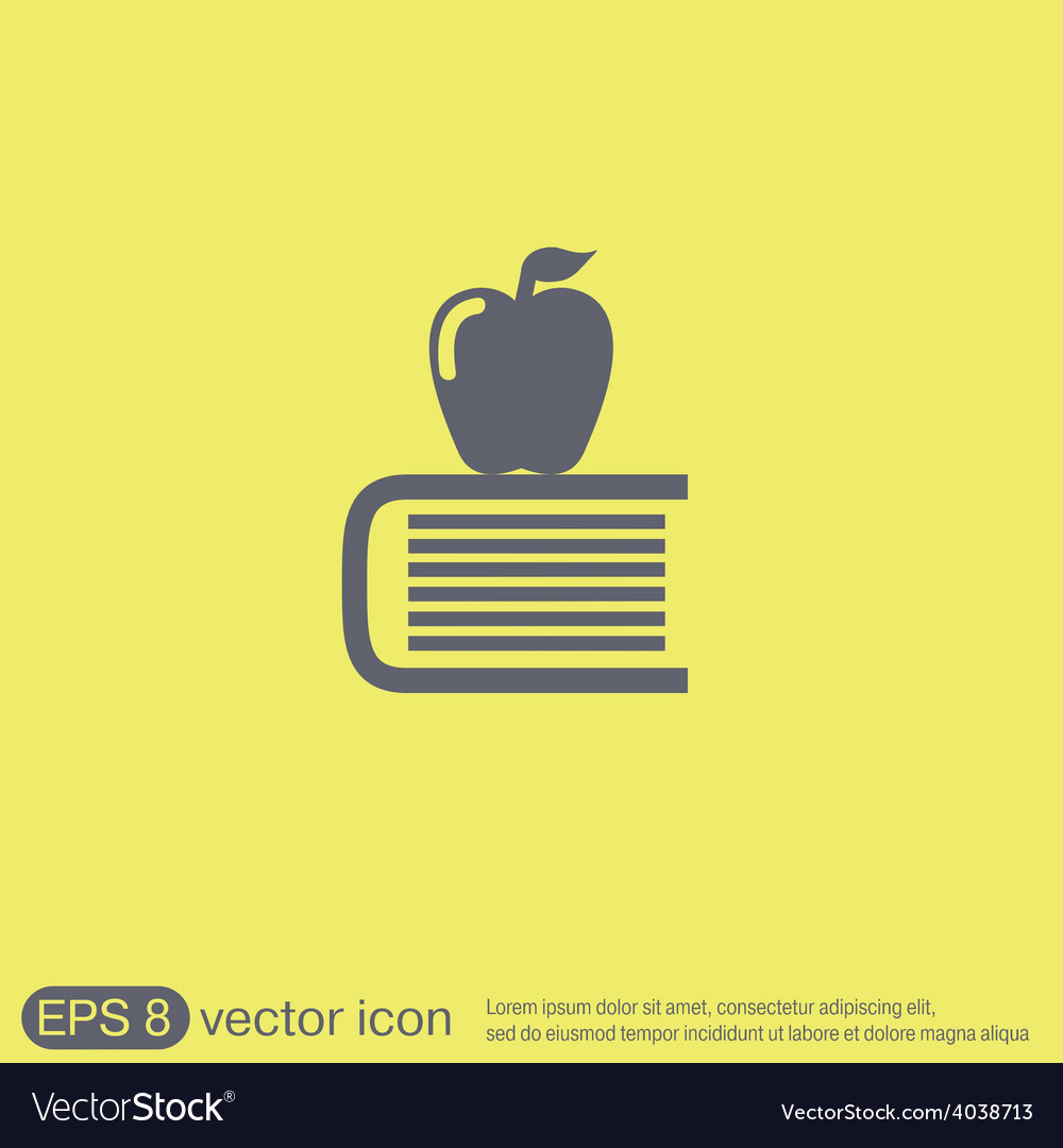 Book with apple icon education sign vector | Price: 1 Credit (USD $1)