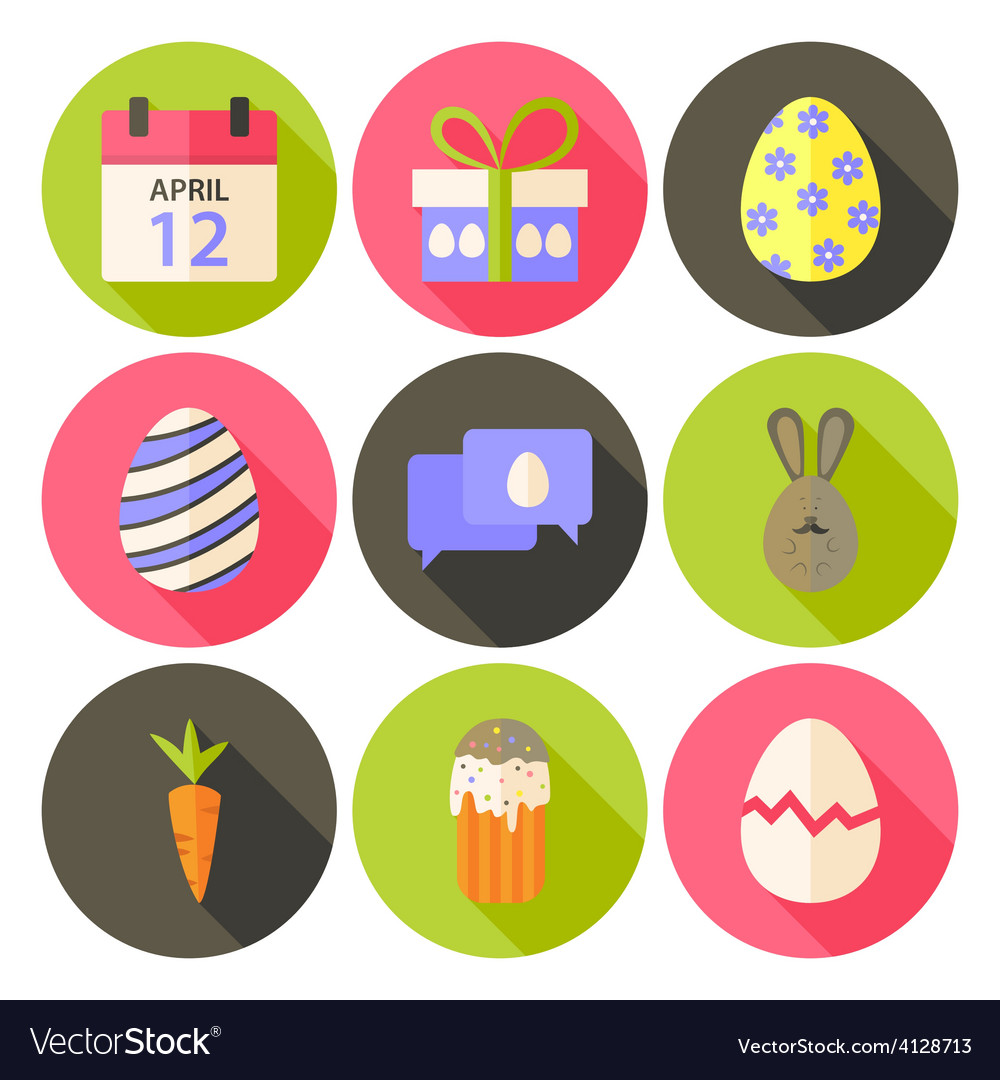 Easter flat styled circle icon set 5 with long vector | Price: 1 Credit (USD $1)