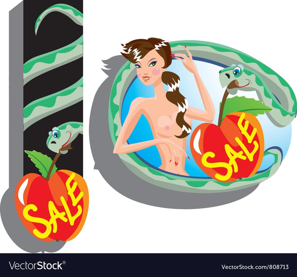 Eva and snake - sale cartoon vector | Price: 3 Credit (USD $3)