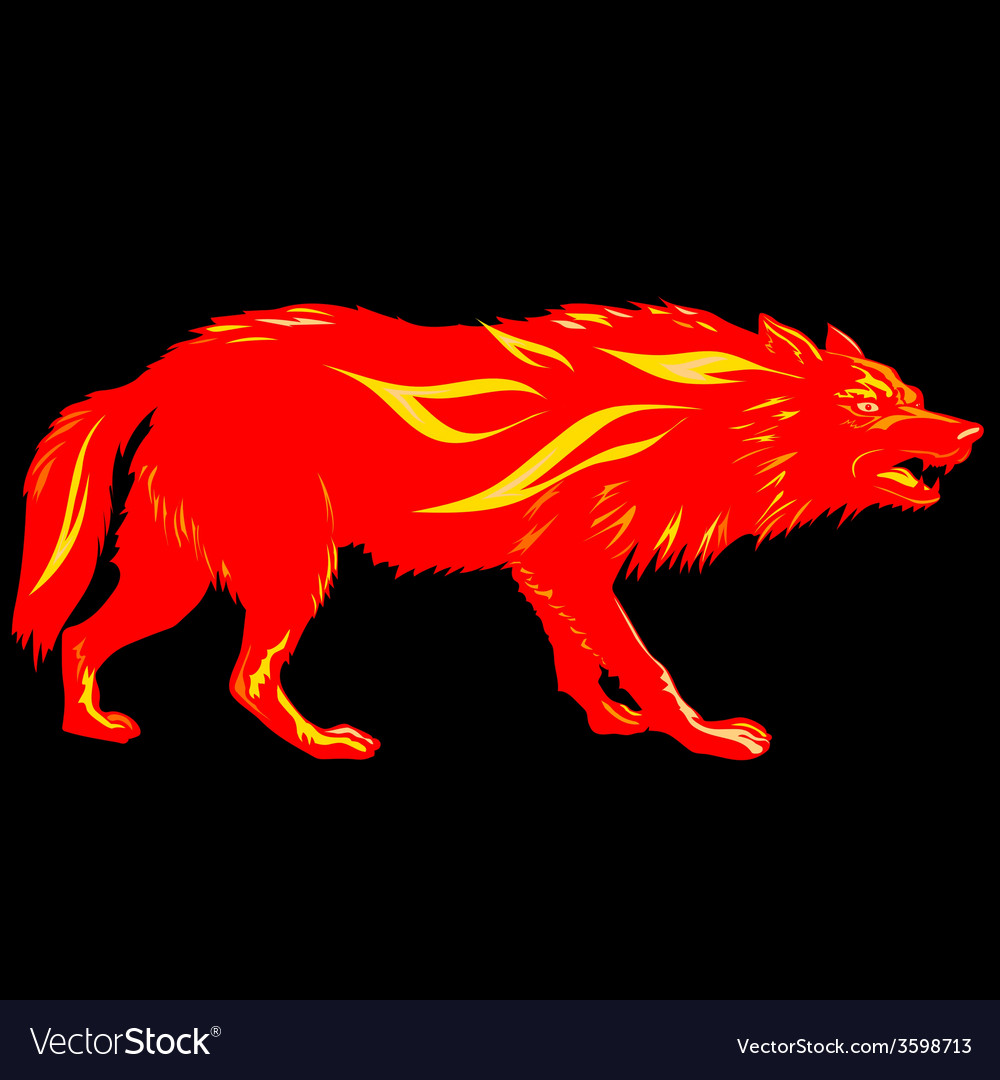 Fire wolf silhouette fire hazard vector | Price: 1 Credit (USD $1)