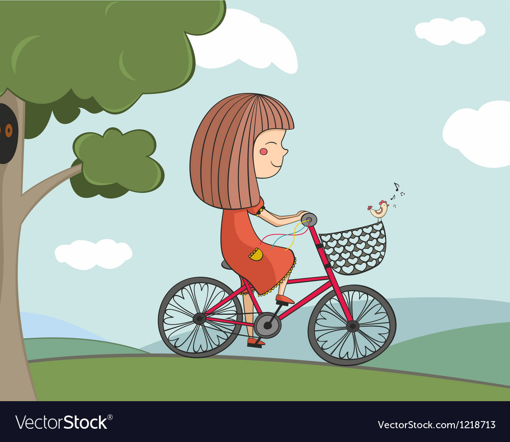 Girl riding a bike vector | Price: 3 Credit (USD $3)